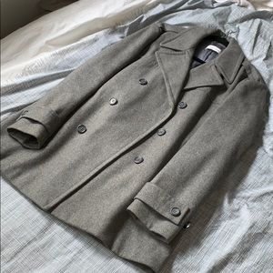 Calvin Klein Wool Double Breasted Gray Coat Small